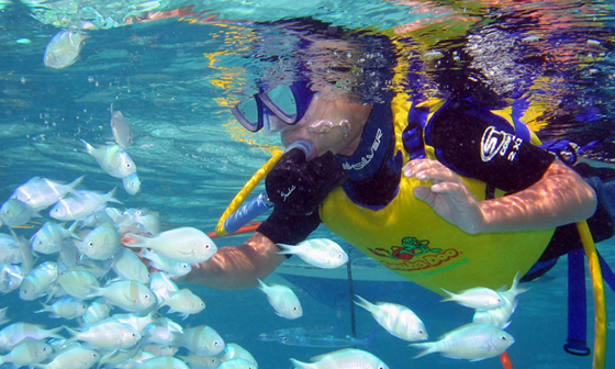 Child With Head Underwater With Scuba Gear On